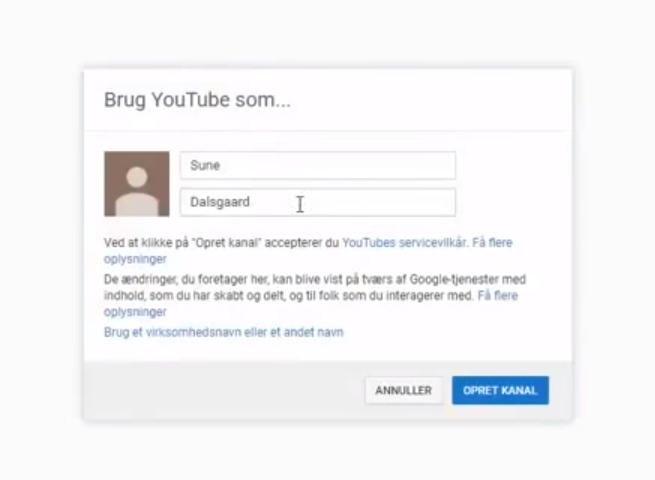 Opret Youtube kanal