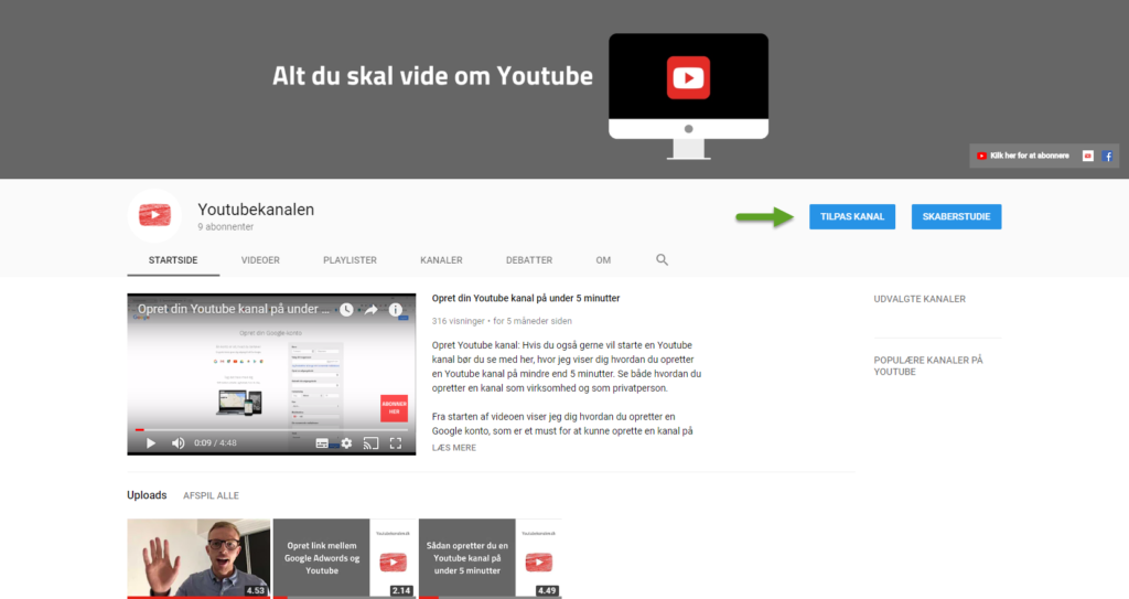 Tilpas YouTube kanal