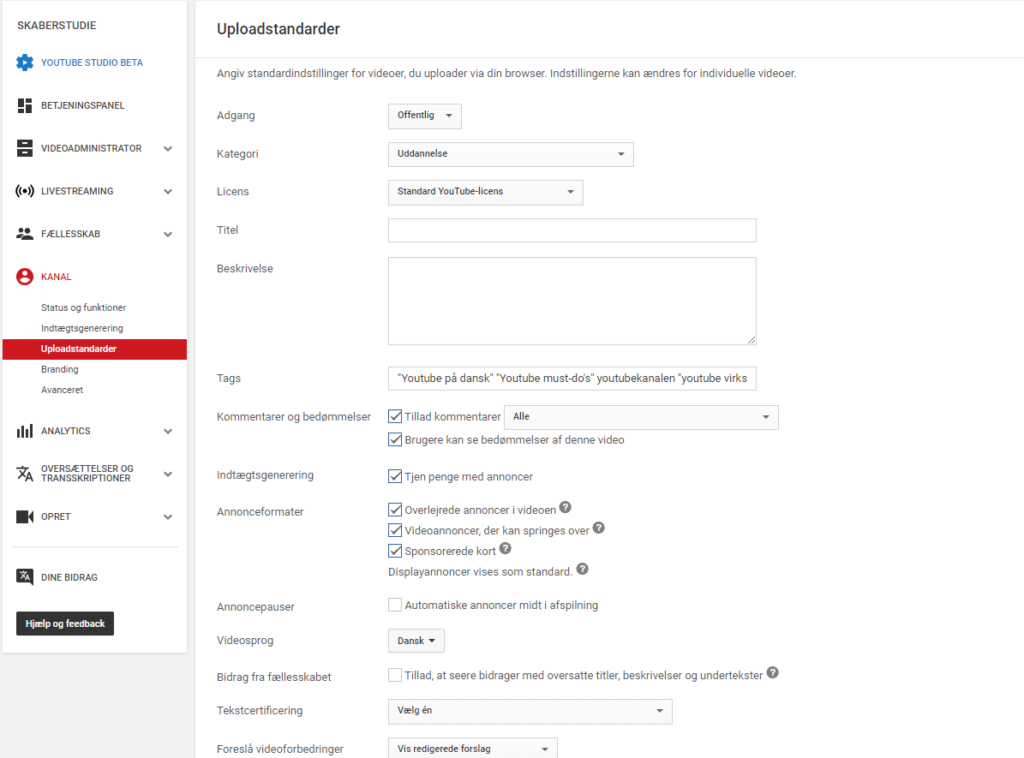 Youtube skaberstudie - uploadstandarder