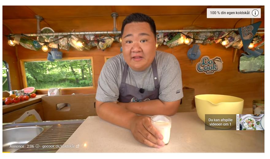 Eksempel på YouTube In-Stream annonce