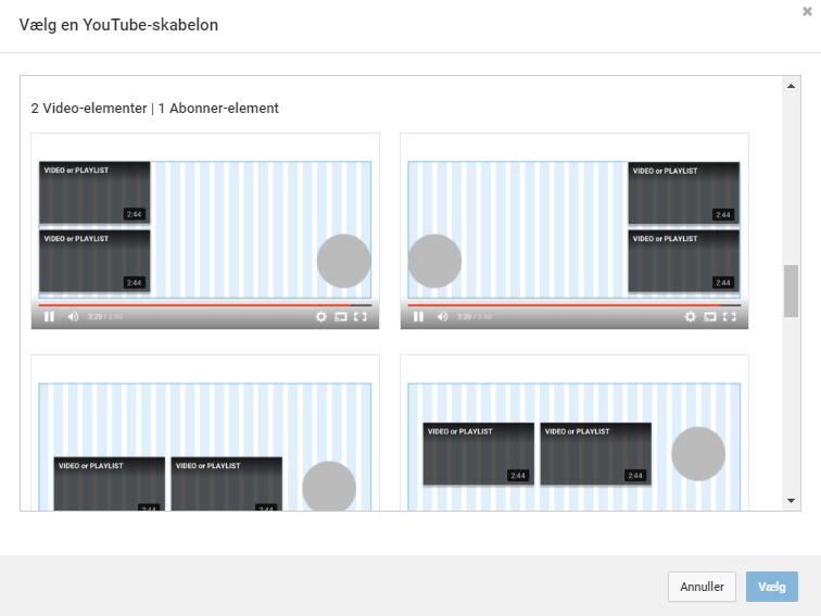 YouTubes standsardskabelon til afsluttende skærmbilleder